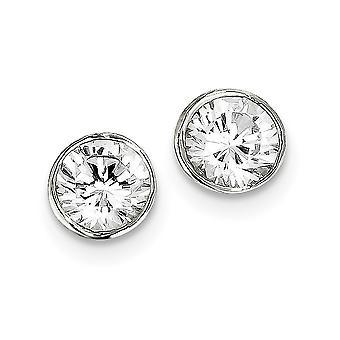 925 Sterling Silber solid poliert Post Ohrringe 8mm CZ Zirkonia simuliert Diamant Runde Lünette Ohrstecker Measu