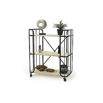 LIFA LIVING Stable industrial-style serving trolley, wooden and black metal kitchen trolley, side car on wheels, for kitchen and living area, 80 x 41 x 86 cm
