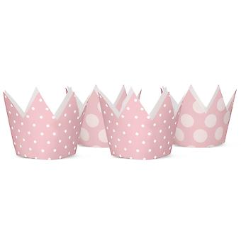 4 Spotty Pastel Pink Card Crowns for Kids Party