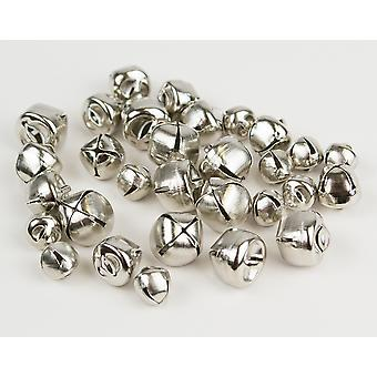 SALE - 30 Silver Assorted Size Jingle Bells for Crafts 8mm - 12mm