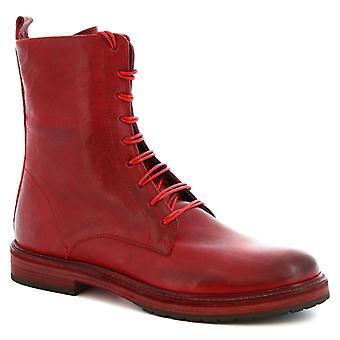 Leonardo Shoes Kobiety's ręcznie sznurowane buty midcalf w czerwonej skórze cielęcej