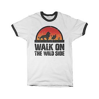 Lion King T Shirt Walk On The Wild Side Logo new Official Mens Black Ringer