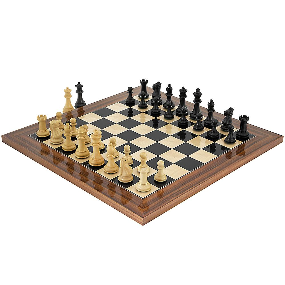 Old English Black and Palisander Chess Set
