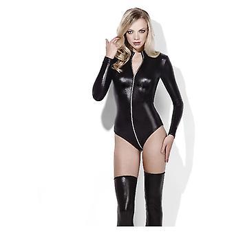 Naisten seksikäs Miss Whiplash musta Zip kautta Body