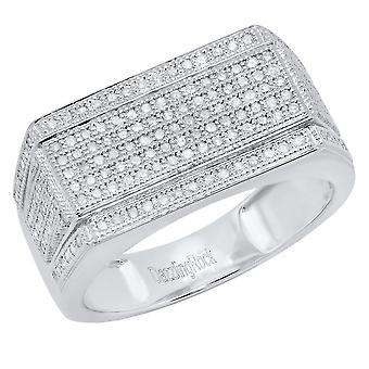 Dazzlingrock Collection 0.76 Carat (ctw) 10K Round White Diamond Men's Flashy Hip Hop Ring 3/4 CT, White Gold