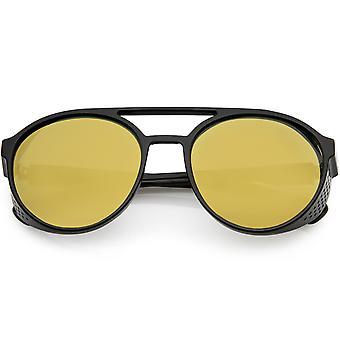 Retro Steampunk Biker kant Studio cover gespiegelde lens Aviator zonnebril 55mm