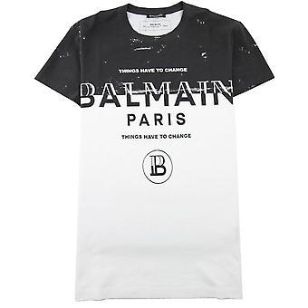 Balmain Paris Logo Print T Shirt Czarny/Biały