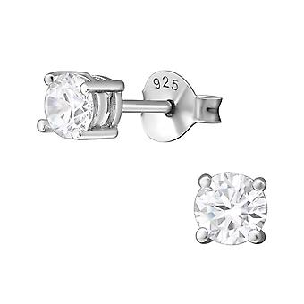 Round - 925 Sterling Silver Classic Ear Studs - W8087x