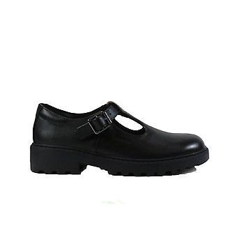 Geox Casey J8420E musta nahka tyttöjen solki T Bar koulu kengät