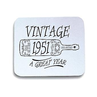 Tappetino mouse pad bianco gen0477 vintage 1951