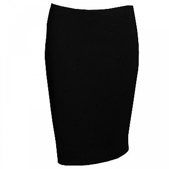 Paola Collection Black Textured Straight Skirt