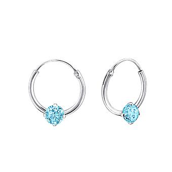 Round - 925 Sterling Silver Ear Hoops - W23465x