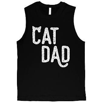 القط أبي الرجال الأسود ودية بارد لطيف المرح الأب & apos;s يوم قميص العضلات