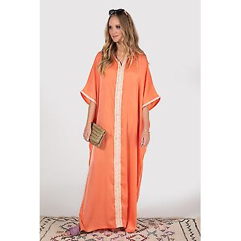 Kaftan sacree high neck cropped sleeve lightweight embroidered satin maxi dress in salmon
