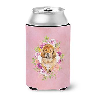 Tibetian Mastiff Puppy Pink Flowers Can or Bottle Hugger