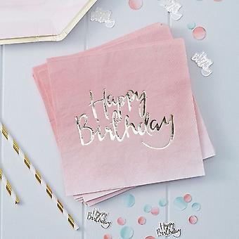 Ombre Rose déjoué or «Joyeux anniversaire» papier serviettes Serviettes x 20 Party