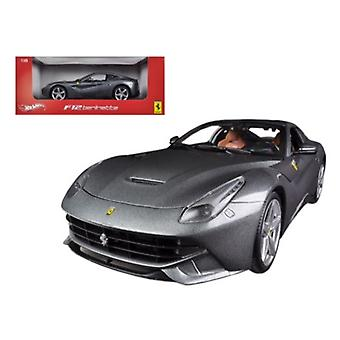 Ferrari F12 Berlinetta Grey 1/18 Diecast Car Model par Hotwheels
