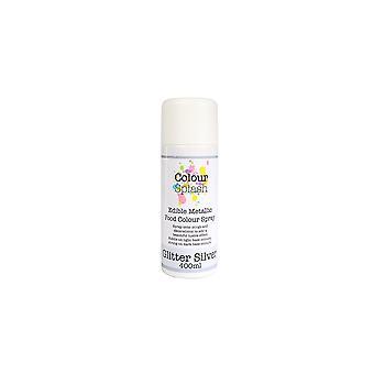 Colour splash eetbare voedsel kleur spray metallic glitter zilver 400ml
