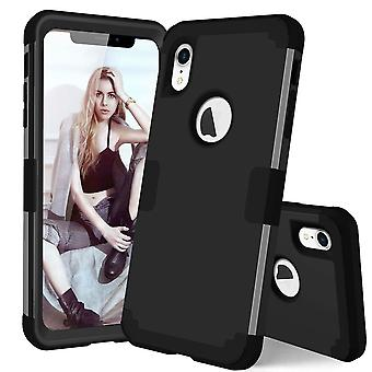 For iPhone XR Case Black Dropproof PC,Silicone Protective Back Cover