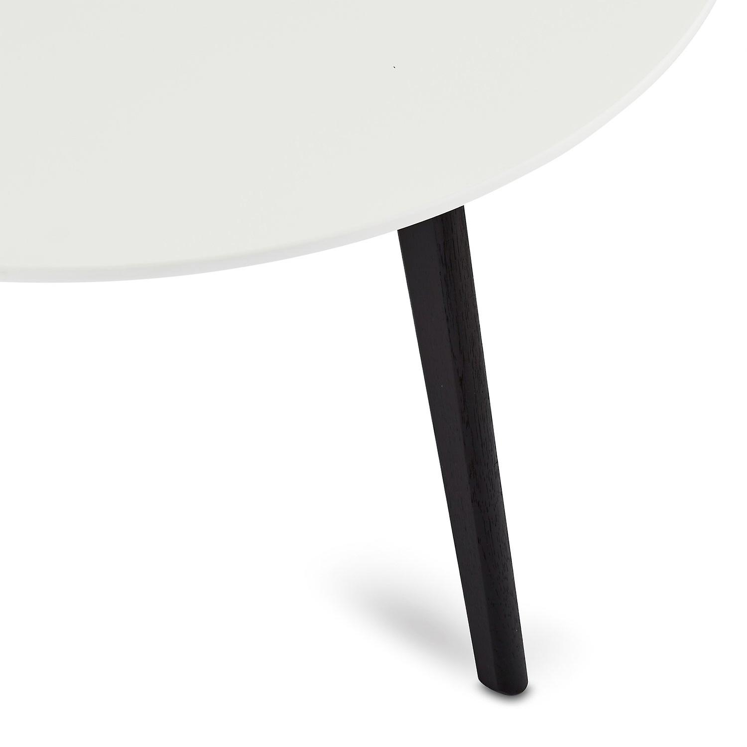Furnhouse Life Coffee Table, White Top, Black Wooden Legs, 80x80x45 cm