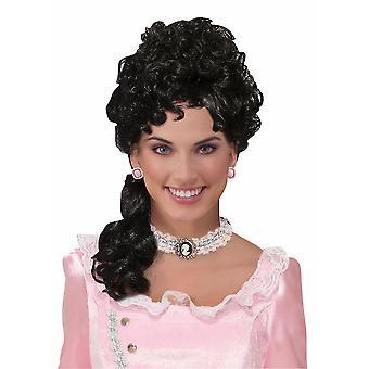 Αποικιακή Lady Belle βικτοριανή 18 αιώνα παλιά ημέρα μαύρο γυναίκες κοστούμι περούκα