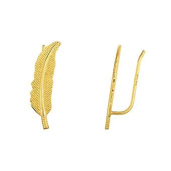 14k Gold Yellow Finish 6x23mm Shiny Textured Leaf Earrings Climber Anklet With Ear Climber Clasp Jewelry Gifts for Women