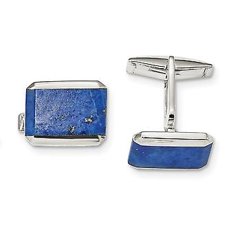 17.2mm 925 Sterling Silver Rectangle Lapis Cuff Links Jewelry Gifts for Men - 11.9 Grams