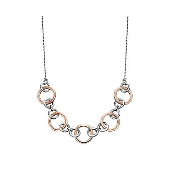 Joshua James Motive Silver & Rose Gold Plated Circles Necklace