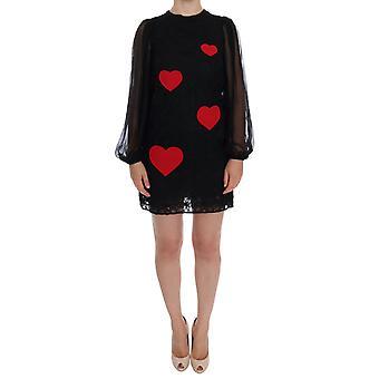 Dolce & Gabbana Black Lace Red Heart Shift Dress