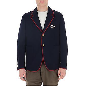 Gucci 590578zac3r4440 Men's Blue Wool Blazer