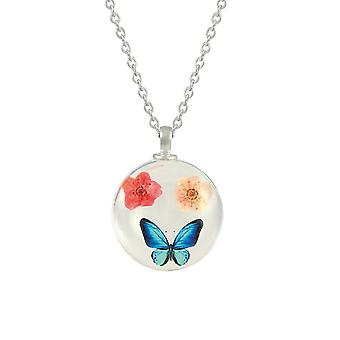 Eternal Collection Eden Flower And Butterfly Pink/Peach/Blue Glass Pendant
