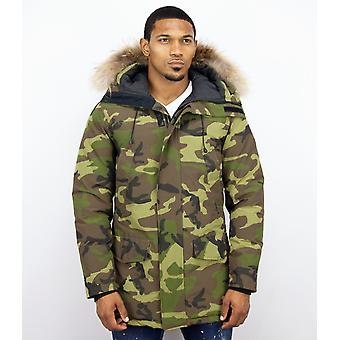 Long Parka Jacket - With Fur Collar - Camouflage