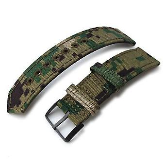 Strapcode fabric watch strap 20mm, 21mm or 22mm miltat ww2 2-piece woodland camo cordura 1000d watch band with lockstitch round hole, pvd black