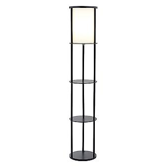 "11.5"" X 11.5"" X 62.5"" Black Wood Round Shelf Floor Lamp"