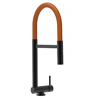 Single-spak Blackchrome Kitchen Sink Mixer Med Orange Movable Pip Och 2 Jets Dusch - Endast 4,5 cm - 505