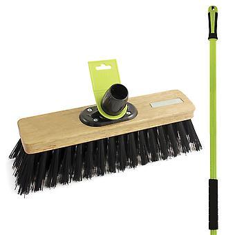 """Charles Bentley Garden 12"""" Stiff Pvc Outdoor Sweeping Broom With Handle"""