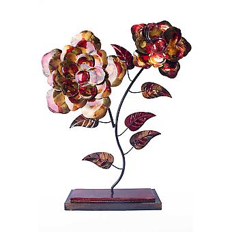 """22.5"""" X 5"""" X 25.5"""" Copper Red And Gold Metal Bloom Foiled And Lacquered Table Top Object"""