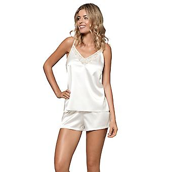 Nipplex Mujeres's Perla Leche De Blanco Bordado Pajama Satinado Juego de Pijama Corto