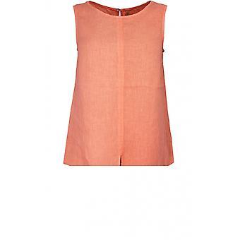 Backstage Mandarin Linen Sleeveless Top