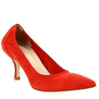 Leonardo Sko Dame's håndlagde spisse midt hæler pumper sko rød semsket skinn