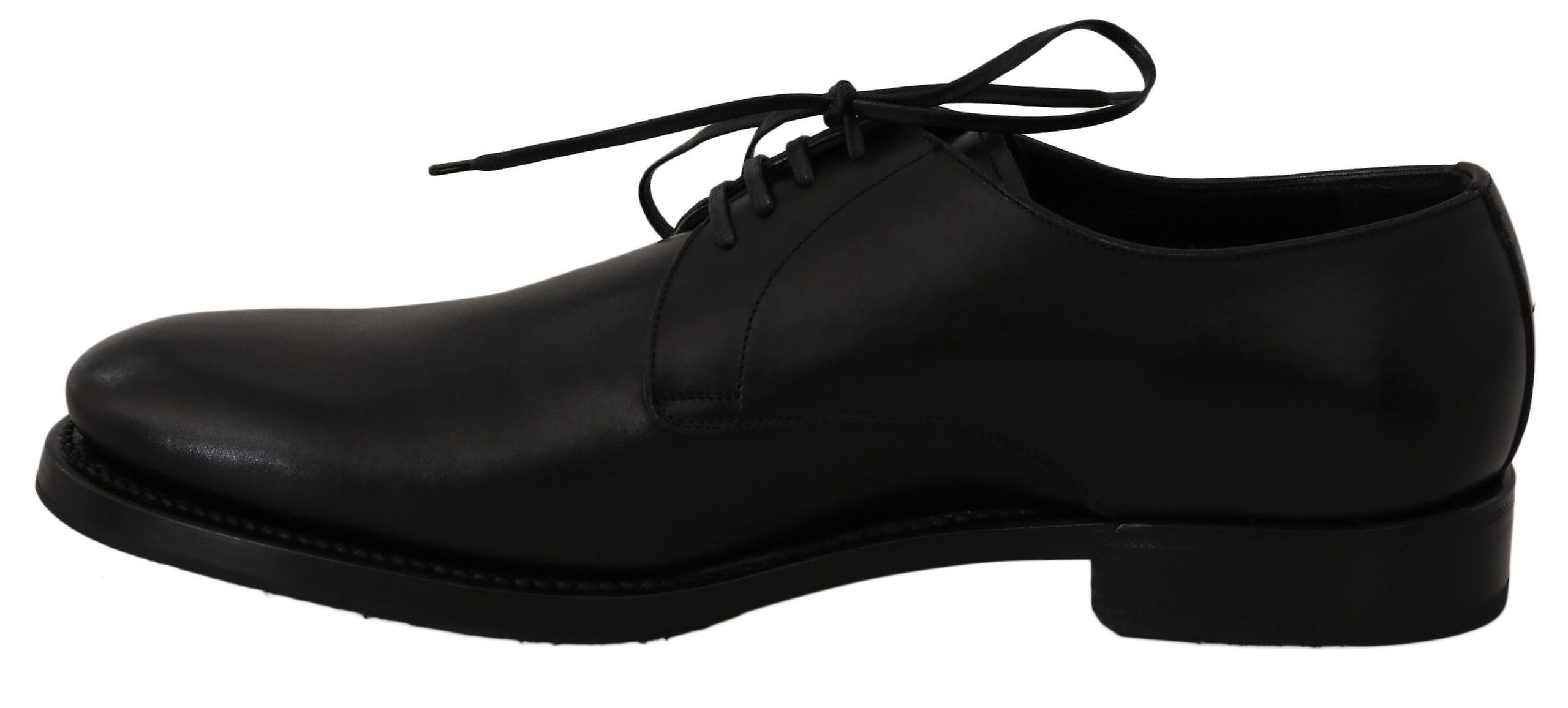 Dolce & Gabbana Black Leather Derby Chaussures formelles robe MV2365- .38.5