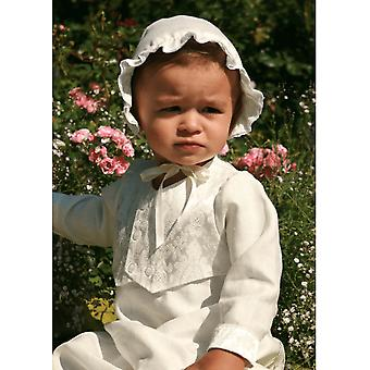 Christening Gown For Boys - Grace Of Sweden - In Linen With Brocade Vest And Bonnet