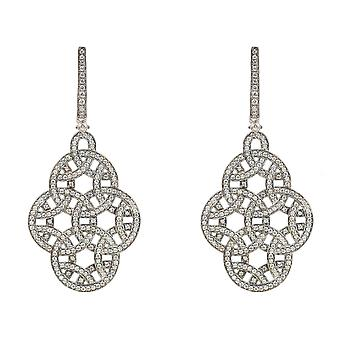 Large Statement Black 925 Sterling Silver Intricate Earrings CZ Bridal Wedding