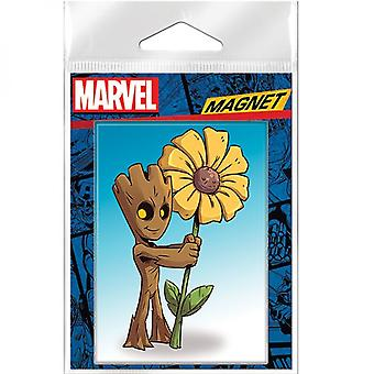 Marvel Guardians Of The Galaxy Groot Holding Sunflower Magnet