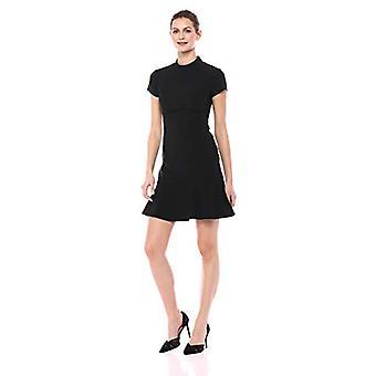Märke - Lark & Ro Women&s Short Sleeve Mocke Neck Ruffle Hem Sheath Dress, Svart, 2