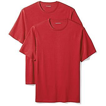 Essentials Men's 2-Pack Loose-Fit Kısa Kollu Crewneck Tişörtler, Kırmızı,...