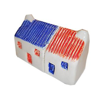 Wee Semi-detached Bothies Tin-roofed Blue & Red by Glenshee Pottery