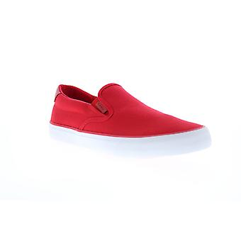 Lugz Clipper  Mens Red Canvas Slip On Lifestyle Sneakers Shoes