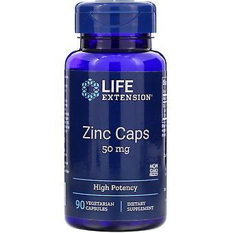 Extensión de vida, Tapas de Zinc, Alta Potencia, 50 mg, 90 Cápsulas Vegetarianas