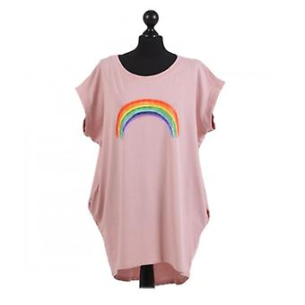 Womens Rainbow Print Dipped Hem Top | Pink | One Size (UK 14-20)